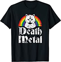 Death Metal Shirt Satanic Cat Rainbow Rock Goth Concert Tee