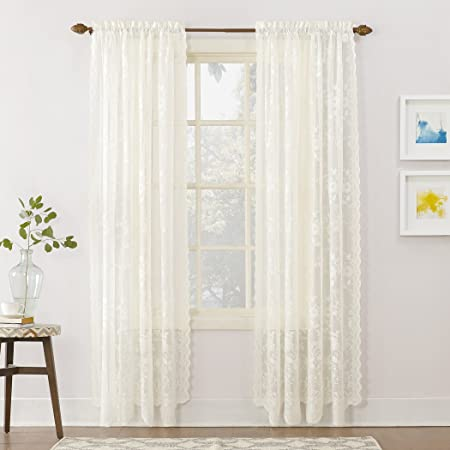 """No. 918 24518 Alison Floral Lace Sheer Rod Pocket Curtain Panel, 58"""" x 84"""", Ivory"""