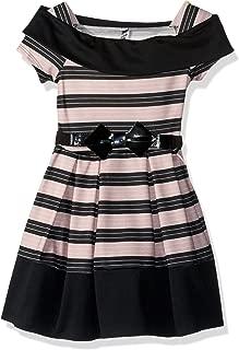 Beautees Big Girls' Wide Stripe Marilyn Neck Skater Dress