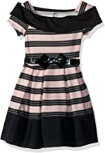 Beautees Girls' Big Wide Stripe Marilyn Neck Skater Dress