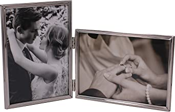 LEADEX Vertical Horizontal Combo- Double 4 by 6 Inch Metal Folding Picture Frames-(1 Landscape and 1 Portrait Style) (Silver)
