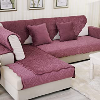 OstepDecor Soft Petris Quilted Sofa Furniture Protector Couch SlipCover for Pet Dog Children Kids - Backrest and Armrest Sold Separately - Wine Red 43 x 94 Inches (110 x 240cm)