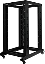 NavePoint 22U Professional 4-Post IT Open Frame Server Network Relay Rack 800mm Casters Black