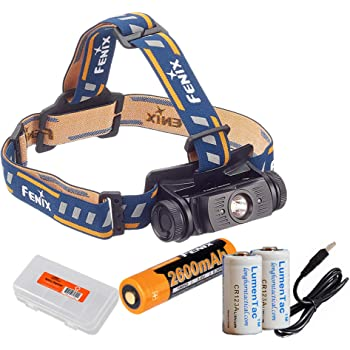 Fenix HL60R 950 Lumens (Black or Desert Yellow Finish) Rechargeable LED Headlamp with Rechargeable Battery, USB Charging Cable, LumenTac Organizer and Backup CR123As