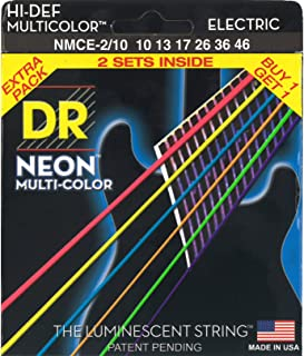 Multi-colores neón DR deslizante fotoluminiscente de alta definición juego de cuerdas para guitarra eléctrica juego de 2 de gran calibre 10-46