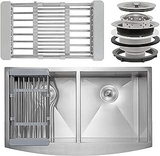 FB Handmade Farmhouse Kitchen Sink 33-inch Undermount 50/50 Double Bowl Stainless Steel 33