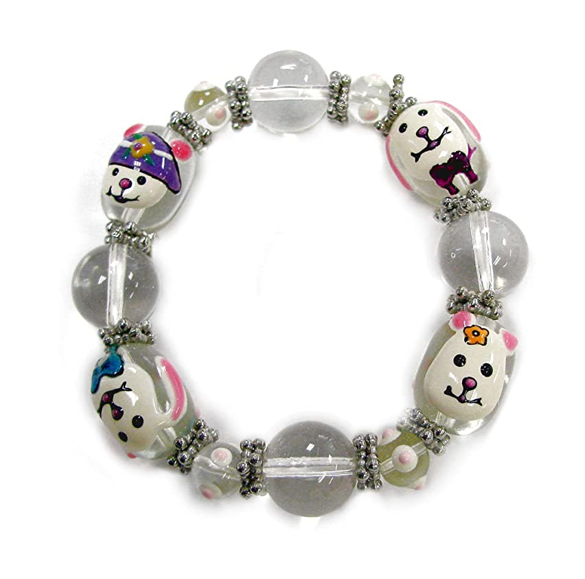 Linpeng Hand Painted Bunnies Easter Glass Beads Stretch Bracelet, White