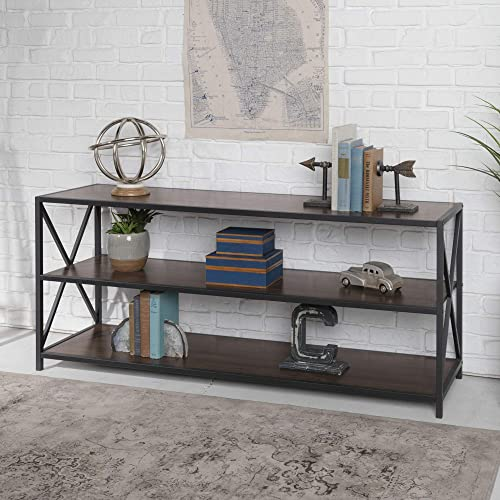 Walker Edison 2 Shelf Industrial Wood Metal Bookcase Bookshelf Storage, 60 Inch, Walnut Brown