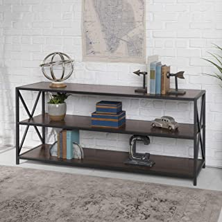 WE Furniture 2 Shelf Industrial Wood Metal Bookcase Bookshelf Storage, 60 Inch, Walnut Brown