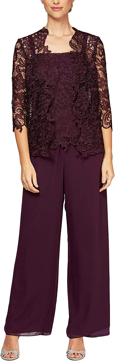 Alex Evenings Women's Plus-Size Two-Piece Pant Suit with Embroidered Tunic Top