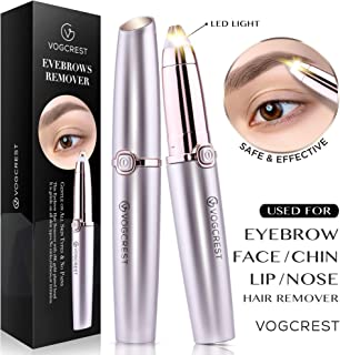 Eyebrow Hair Remover, Vogcrest Electric Painless Eyebrow Trimmer Epilator for Women, Portable Eyebrow Hair Removal Razor with Light (Rose Gold)