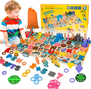 BeebeeRun Wooden Number Alphabet Puzzles Shape Sorting Counting Montessori Learning Toys for Toddlers, Fishing Game for Ag...