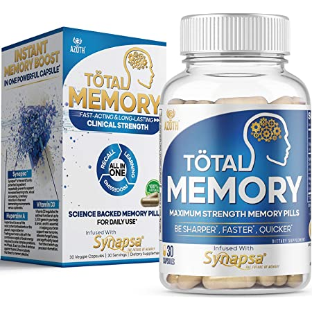 AZOTH Total Memory Supplement for Brain - Extra Strength Memory Pills to Boost Recall, Cognition, Focus, Mental Clarity - Improve Brain Health, Brain Fog, Memory Loss - Synapsa, Huperzine & Vitamin D3