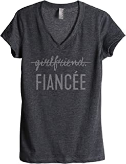 Thread Tank Girlfriend Fiancee Women's Fashion Relaxed V-Neck T-Shirt Tee Charcoal