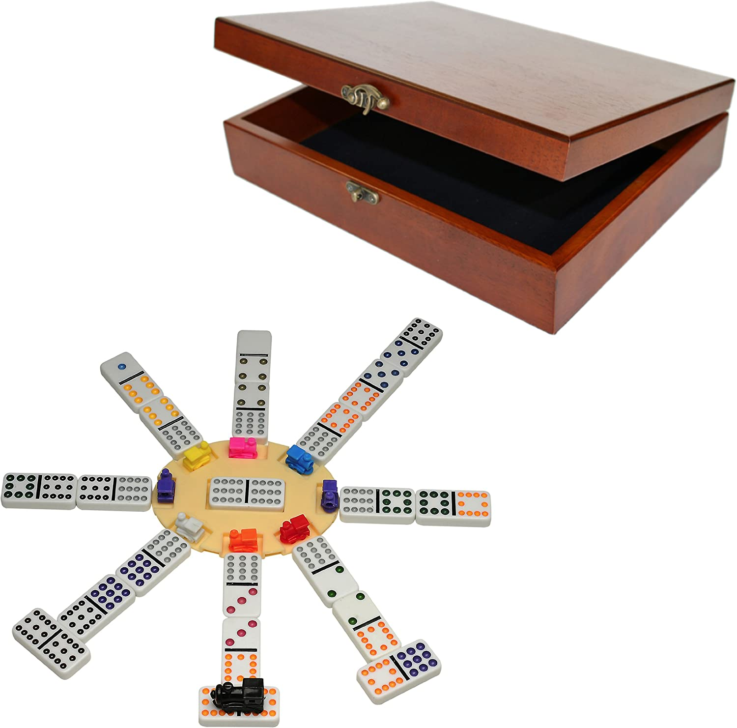 WE Under blast sales Games Deluxe Mexican Dominoes Box Wooden Memphis Mall in Old-Style