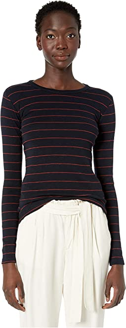 Chalk Stripe Long Sleeve Crew Sweater