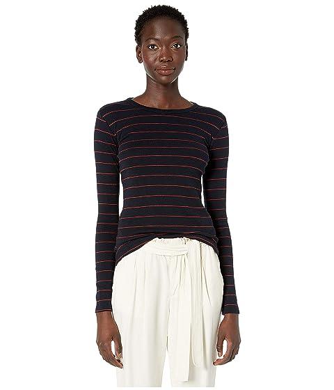 Vince Chalk Stripe Long Sleeve Crew Sweater