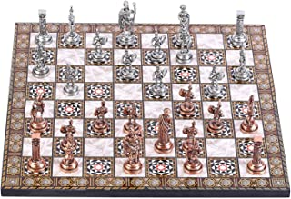 GiftHome - Juego de ajedrez de Metal con Figuras Romanas de Cobre Antiguo para Adultos, Piezas Hechas a Mano y Tablero de ajedrez de Madera con diseño de nácar King 2.8 Inc