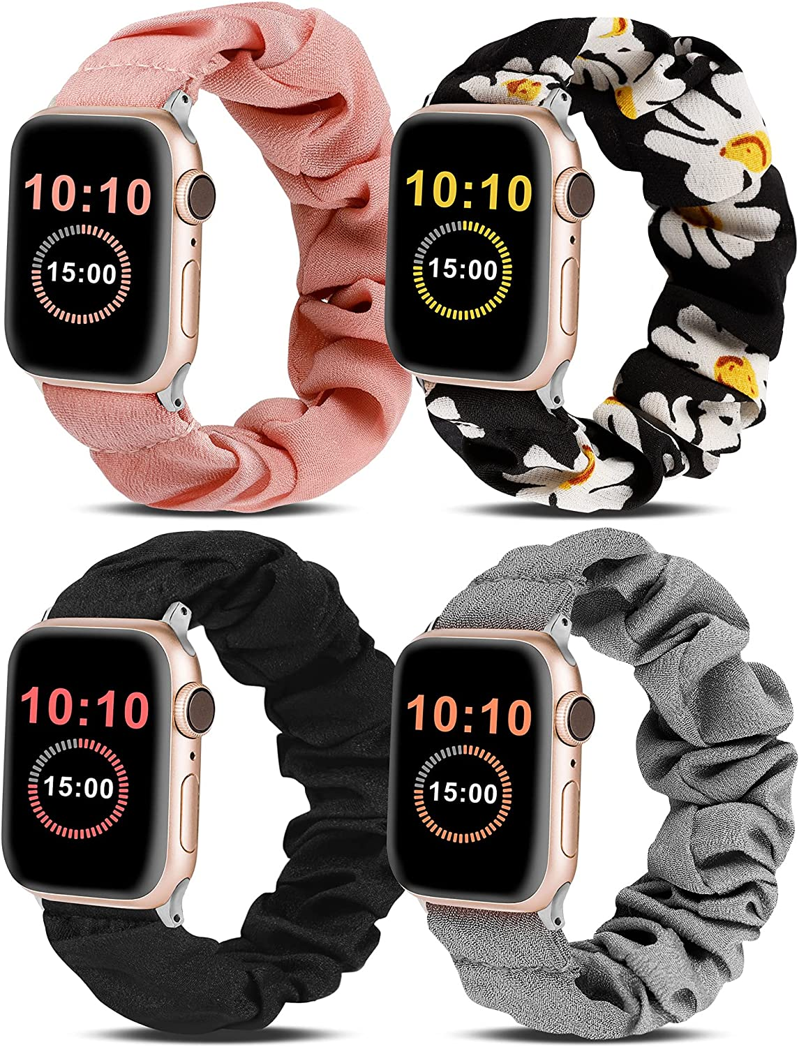 Wearlizer 4 Packs Compatible for Apple Watch Band Scrunchie Soft Cloth 38mm 42mm Cute Printed Elastic Watch Bands Women Stretchy Bracelet Wristband Strap for Apple iWatch 7/SE/6/5/4/3/2/1