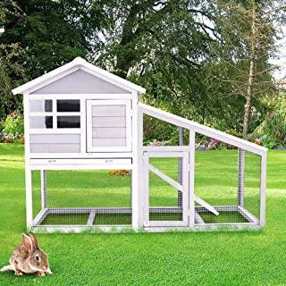 DKLGG Rabbit Cage Outdoor 2 Layer Large Wooden Pet House with Ventilation