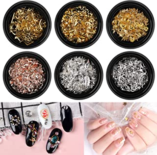(6 Boxes) Metal Nail Art Studs for Craft,AKWOX Shell Star Fish Conch Hollow Multiple Shapes 3D Nail Rivets Stud for Craft DIY Nails Decoration Kit Makeup (Rose Gold, Gold & Silver)