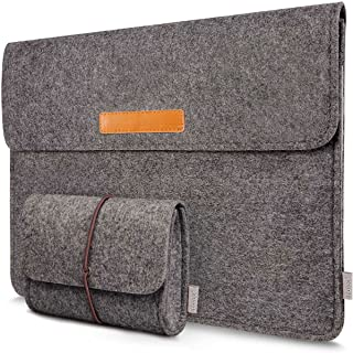 Inateck 15.4 Inch Laptop Sleeve Case Bag Compatible MacBook Pro Retina 2012-2015/Dell XPS 15, with Small Pouch Bag for Accessories - Dark Gray