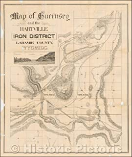 Historic Map - Map of Guernsey and the Hartville Iron District Laramie County, Wyoming, 1899, Frank Bond - Vintage Wall Art 44in x 53in