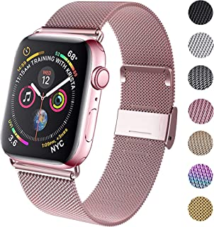 GBPOOT Compatible for Apple Watch Band 38mm 40mm 42mm 44mm, Wristband Loop Replacement Band for Iwatch Series 4,Series 3,Series 2,Series 1,Rosegold,42mm/44mm