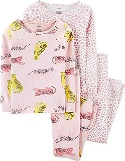 Girls 4-Piece Snug Fit Cotton Pajamas PJs (Pink Leopard, 5)