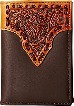 Leather Stitch Floral Embossed Tri-Fold Wallet