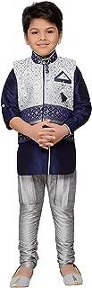 navy blue kurta with waistcoat