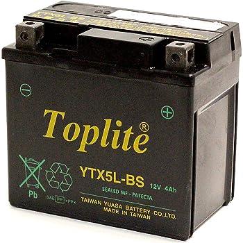 Toplite 台湾ユアサ YTX5L-BS バイク用 耐震バッテリー AGM シールド型 液入り充電済み 台湾YUASA 第2ブランド