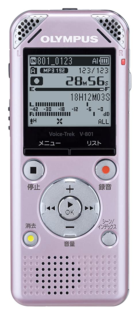 クレーター地区ドリンクOLYMPUS ICレコーダー VoiceTrek 2GB MP3/WMA ステレオ録音 microSD対応 PNK ピンク V-801