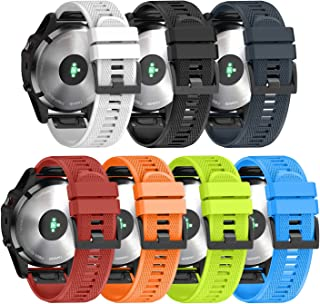 ANCOOL Compatible with Fenix 5X Band Easy Fit 26mm Width Soft Silicone Watch Bands Repalcement for Fenix 5X/Fenix 5X Plus/Fenix 3/Fenix 3HR Smartwatches - 7PCS Pack