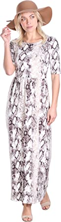 Popana Womens Casual Faux Wrap Long Floral Maxi Dress 3/4 Sleeves - Made in USA