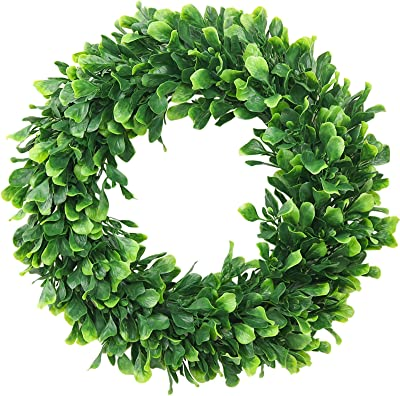Lvydec Artificial Green Leaves Wreath 15 Boxwood Wreath Outdoor Green Wreath For Front Door Wall Window Party Décor Kitchen Dining