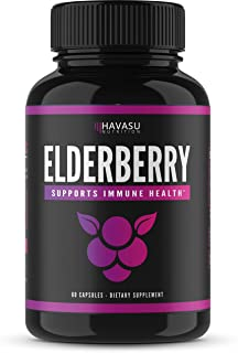 Havasu Nutrition Elderberry Capsules with Sambucus Nigra and Antioxidants for Added Benefits in Optimizing Immune Support for Men & Women, Non-GMO & Gluten Free, 60 Capsules