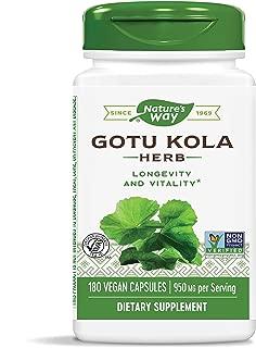 Nature's Way Premium Herbal Gotu Kola Herb, 950 mg per Serving, Non-GMO & Gluten Free, 180 Capsules