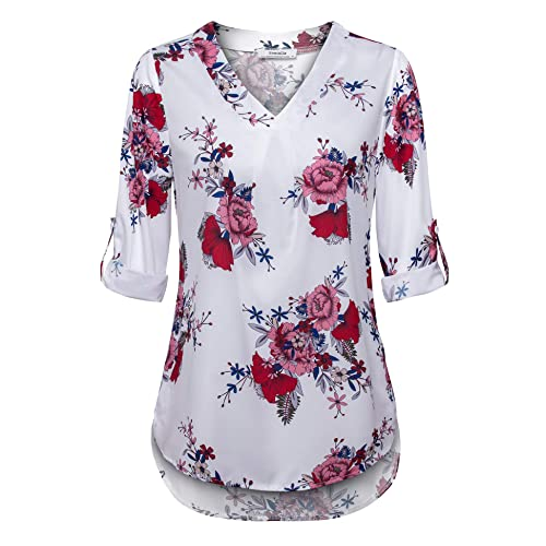 1de5b001b8ef Youtalia Women's Tops and Blouses, Ladies Fashion 3/4 Cuffed Sleeve Chiffon  Tunic Floral