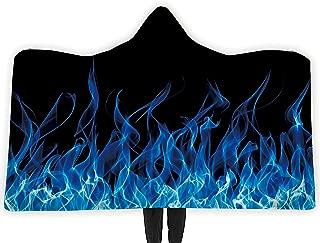 RAISEVERN Wearable Hooded Blanket Hood Poncho Cloak Cape Funny 3D Blue Smoke Print Men Women Cozy Throw Sherpa Fleece Soft Warm Winter Novelty Blanket for Adults 60X80 Inch