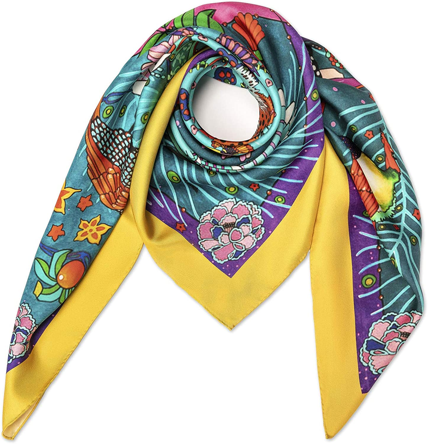 """Konsans 35"""" 16 Momme Twill 100% Real Mulberry Silk Square Women Scarfs Scarves"""