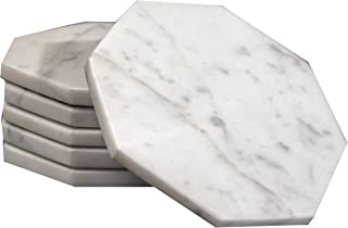 Set of 6 - White Marble Stone Coasters Polished Coasters 3.5 Inches (9 cm) in Diameter Protection from Drink Rings -CraftsOfEgypt
