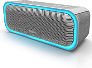 [Upgraded] DOSS SoundBox Pro Portable Wireless Bluetooth Speaker with 20W Stereo Sound, Active Extra Bass, Wireless Stereo Pairing, Multiple Colors Lights, Waterproof IPX5, 10 Hrs Battery Life - Grey