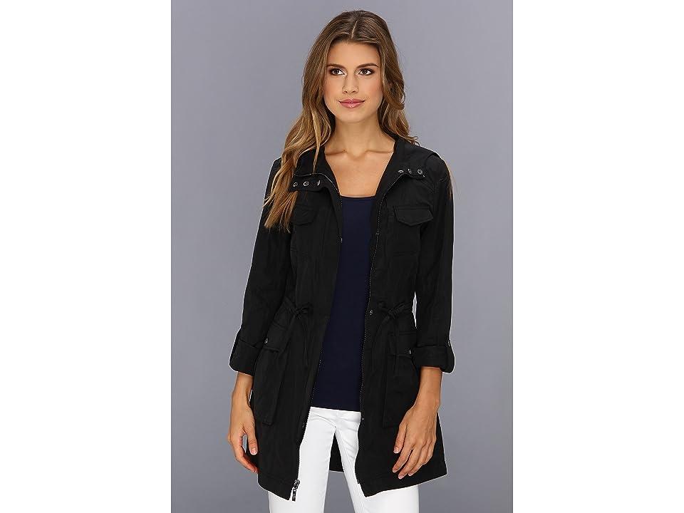Cole Haan Packable 4 Pocket Zip Up Jacket With Hood (Black) Women