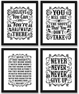 Motivational Inspirational Quotes Art Prints 4 Pack | Set of Four Photos 8×10..