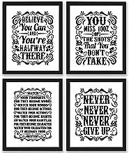 Motivational Inspirational Quotes Art Prints 4 Pack Set of Four Photos 8x10 Unframed Classroom Office Home Wall Art - Insp...