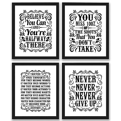 eda6181ed69a7 Amazon.com: Motivational Inspirational Quotes Art Prints 4 Pack ...