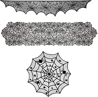 3Pcs Halloween Decorations Set Round Lace Tablecloth Topper Black Spider Rectangular Tablecloth and Fireplace Decorations Lace Spiderweb Cover Window Dinner Party Festival Party Scary Nights
