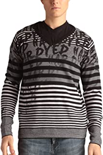 Mens Stripped V-Neck Wool Blend Sweater With Signature Print