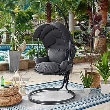 Barton Patio Hanging Lounge Chair with Deep Cushion Chair w/Canopy Top, Grey